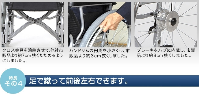 """クロス金具を湾曲させて、他社市販品より約7cm狭くたためるようにしました。ハンドリムの円周を小さくし、市販品より約3cm狭くしました。ブレーキをハブに内蔵し、市販品より約3cm狭くしました。スワニー車いすは""""世界最小""""のコンパクト設計ですが、 座席は表陣サイズを確保。座り心地に支障はありません。"""
